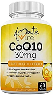 Coq10 Ubiquinol Coenzyme Q10 Supplement 30mg for Heart Health, Cellular Energy, Blood Pressure, Cholesterol Level & Cognitive Health for Men & Women - Healthy Heart Formula 60 Softgels by Amate Life