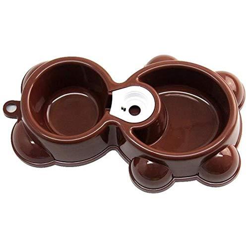 yuxue Tierbedarf Hundehalsband Haustier Niedliche Bärenform Pet Bowl Dish Automatischer Dual-Drink-Spender Wasserfutter-Feeder Brunnen Welpe Hund Katzenschale Großhandel 40Fb20, Kaffee, M.