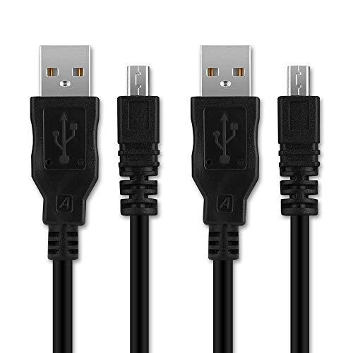 2X CELLONIC® Cable USB dato Compatible con Nikon D5300 D5200 D5100 D5000 D750 D7100 D7200 D3300 DF CoolPix B500 L310 L330 L340 L810 L820 L830 L840 P500 P510 P520 P530 A10 A100 A300, UC-E6 Cable Carga