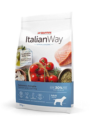Italian Way Cibo per Cani Ipoallergenico Salmone e Aringhe - Adult - Medium - 12 kg