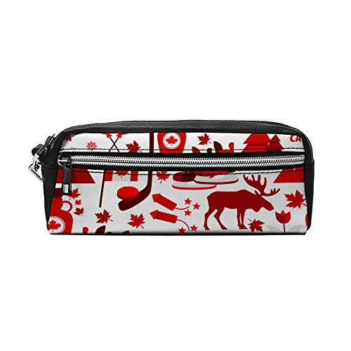 Canada Teken en Symbool Info Grafische Elementen Flat PU Lederen Potlood Case Make-up Bag Cosmetische Tas Potlood Pouch met Rits Reizen Toilettas voor Vrouwen Meisjes