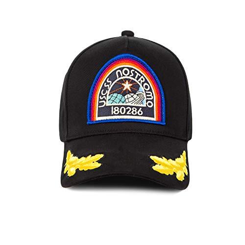 Wellgift Alien Mütze Nostromo Hut Cosplay Kostüm Stickerei Schwarz Baseball Kappe Erwachsene Halloween Costume Outdoor Herren Damen Kleidung Zubehör
