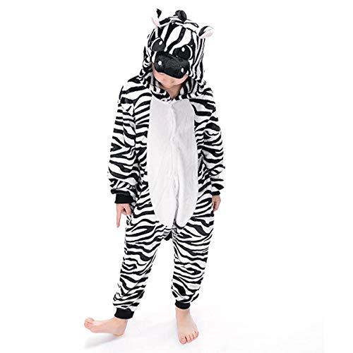 Coolpay Unisex Animal Children Pajamas Cosplay Sleepwear for Kid Halloween or Christmas Costumes for Baby(110#, Zebra)