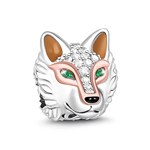 GNOCE'Clever As A Wolf' Elegant Ancient Wolf 925 Sterling Silver Animal Bead Charm Colorful Green Zircon Wolf Head Necklace Pendant For Dog Lover Fit All Major Brands Of Bracelets/Necklace