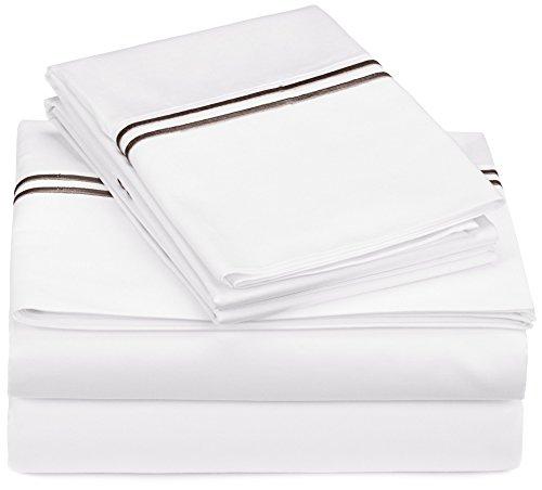 Pinzon Juego de sábanas de 100% algodón Egipcio, 400 Hilos, Queen, Espresso