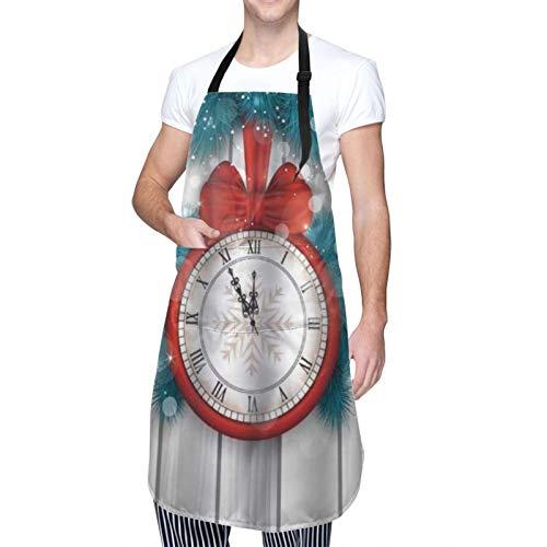 COFEIYISI Delantal de Cocina Año nuevo medianoche un reloj y una rama de abeto Delantal Chefs Cocina para Cocinar/Hornear