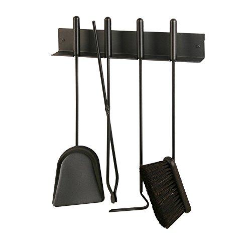 Heibi Kaminbesteck mit 4 Geräten, zur Wandmontage/Aufstecken an Holzwägen