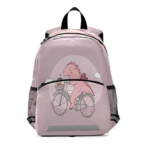 Mochila para niños con diseño de dinosaurio divertido en bicicleta para niños pequeños y niñas