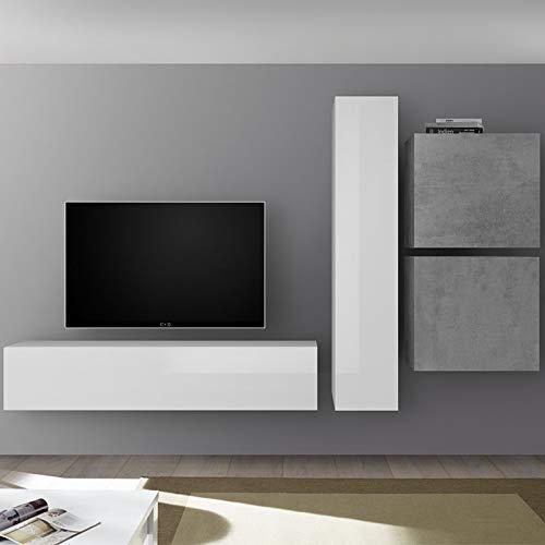 Grote tv-kast wit gelakt en grijs beton punta