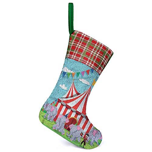 Adorise Personalizar las medias banderines de las banderas del espectáculo de Navidad y accesorios de fiesta úselo como bolsa de regalo y decoraciones