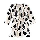 Toddler Baby Boys Girls Leopard Print Winter Thick Warm Flannel Bathrobe Night-Robe Pajamas Tracksuit White