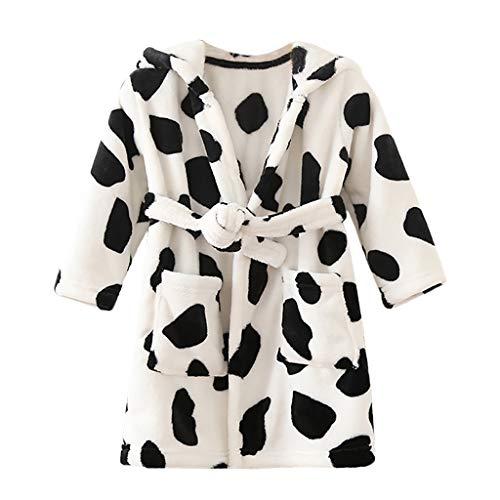 Peuter Kids Hooded Fleece Dressing Jurk Badjas Jongens Meisjes Flannel Badjas Koe Luipaard Gedrukt Warme pyjama Jurk Slaapmode Huiskleding Beste Gift 1-10 Jaar