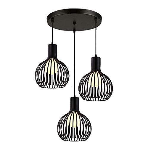 Vintage Luminaire Suspension Cage en Métal Noir, Lustre Industriel 3 Lampes E27 Corde Ajustable pour Salon Cuisine Chambre