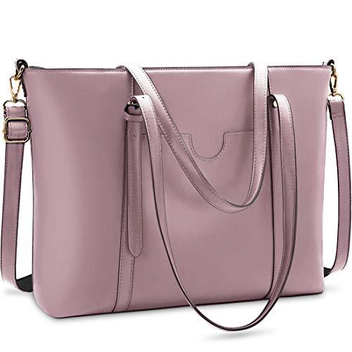 NUBILY Handtasche Shopper Damen Groß 15.6 Zoll PU Leder Shopper Blass lila Laptop Umhängetasche Gross Business Aktentasche Frauen Retro Schule Taschen