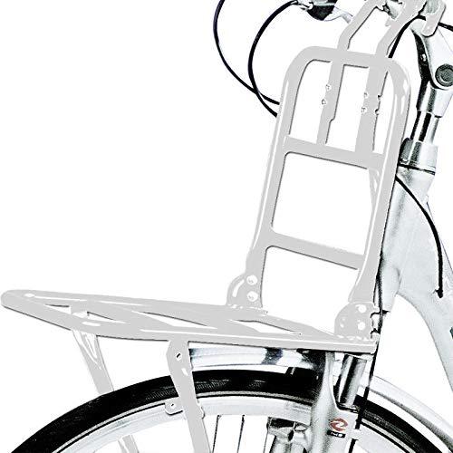 "SCHOBERG Fahrrad Frontgepäckträger Vorne Frontträger Gepäckträger universal 24 bis 28\""Holland Style Universalträger max. Zuladung 15kg (Weiss)"