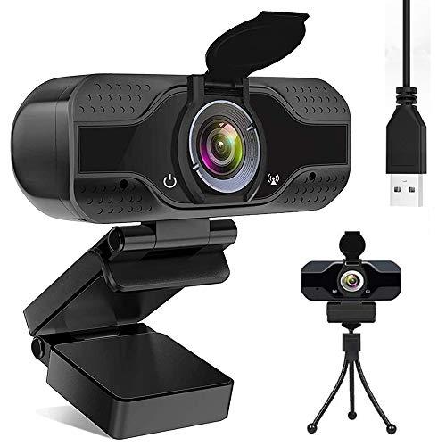 DELT Webcam mit Mikrofon und Sichtschutz, USB Webkamera mit Halterung für PC, Laptop, 1080P HD Streaming Webcam für Aufnahme, Videokonferenzen, Spielen, Plug & Play (Black)