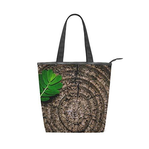 JinDoDo - Bolsa de lona con cremallera, anillos anuales, hojas de tocón marrón, bolsa abstracta para mujer, para compras, viajes, playa, escuela