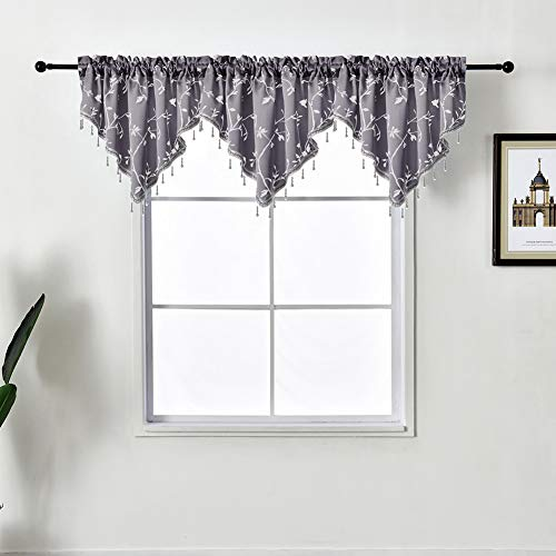 NAPEARL Lovely Beaded Kitchen Window Valance with Birds Vines Patterns, Rod Pocket Swag Curtain Valance for Farmhouse, Bathroom, 1 Panel ( 50 x 24 Inch, Grey )