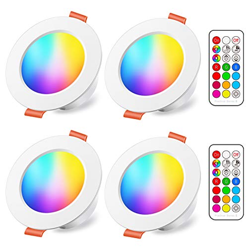 Foco Empotrable LED 8W (equivalente a 60W), Colores RGBW Cambio de Color...