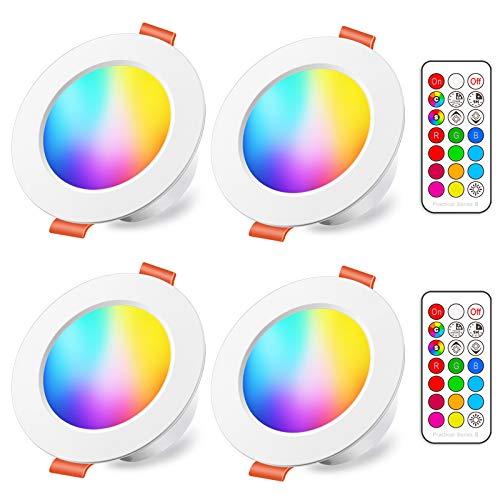 LED Einbaustrahler 8W (ersetzt 60W), RGBW mit Fernbedienung Rund Deckenspots IP44 Warmweiß 2700K Einbauleuchte RGB Farbwechsel Farbige Dimmbare ultra Flach (4er-Pack)