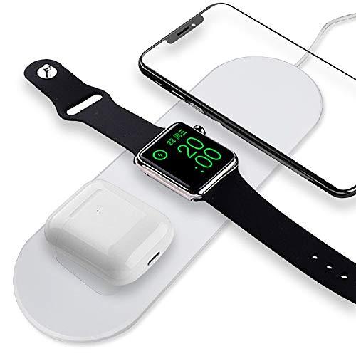 FANMU - Cargador inalámbrico 3 en 1 Qi para Apple Watch Iphone, apto para Airpods, carga rápida, oficina en casa y viajes