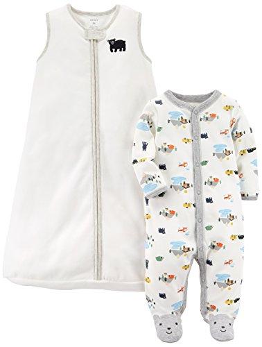 Carter's Baby Boys' 2-Pack Fleece Sleep and Play with Sleepbag, Bear/White, 3 Months