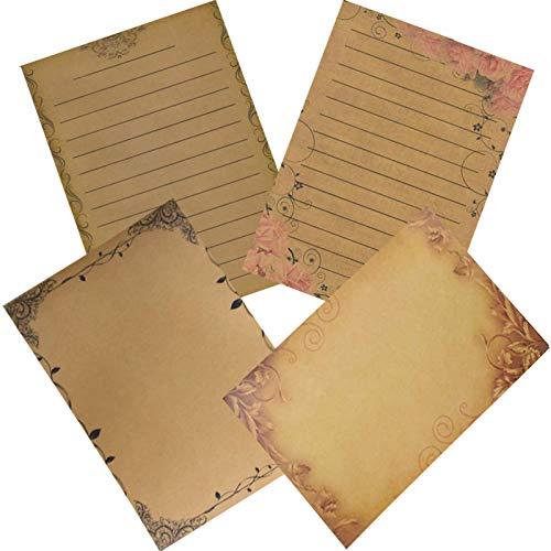 Briefpapier Altes Papier Vintage, 64 Blatt Kraftpapier Vintage Briefpapier, Kraftpapier Bedruckbar, Schreibpapier Vintage für Vintage-Einladungen und Briefe