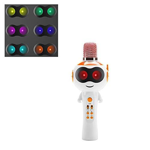 LSJZF Karaoke Micrófonos, Bluetooth Micrófono Inalámbrico para Android, iPhone, iPad, PC, Teléfono Inteligente, Hogar KTV, Máquina De Karaoke Portátil con Altavoz Compatible,Naranja