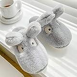 ergou Lovely Bunny Ears Plush Slippers, Bunny Slippers for Women, Cute Rabbit Ears Non-Slip Fluffy Slippers Indoor House Warm Plush Animal Slippers (Gray,44-45)