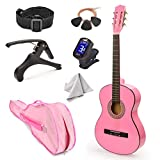 NEW! 30' Left Handed Pink Wood Guitar With Case and Accessories for Kids/Girls/Beginners
