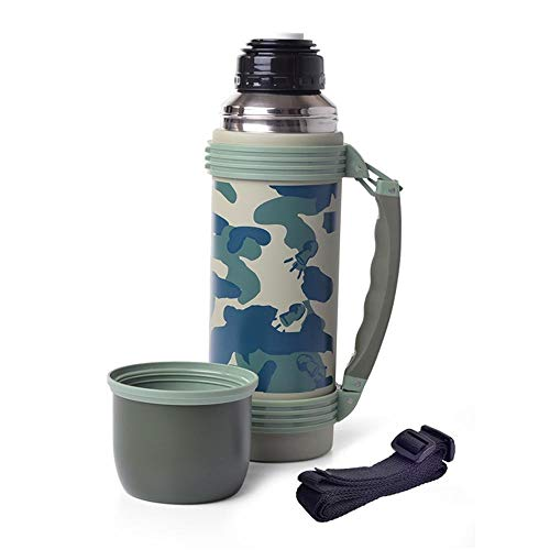 weichuang Thermal flask 1100ML Double Wall Stainless Steel Vacuum Flask Outdoor Camouflage Thermos Portable Insulated Cup Thermal flask (Capacity : 1100ml)