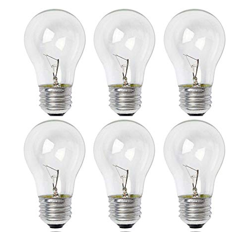 Sterl Lighting - Pack of 6 A15 Crystal Clear Decorative Refrigerator Incandescent Light Bulb , 15 Watts , 120 Volts , E26 Medium Base , 2700K , 90 Lumens