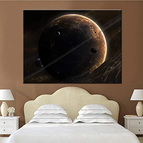 Leinwandbilder Für Wohnzimmer Wandkunst Universum Raum Und Planeten Gemälde HD Drucke Poster Wohnkultur 60x80 CM (kein rahmen)
