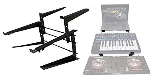 Rockville Adjustable Dual Shelf DJ Controller Midi Keyboard Laptop Stand (Rock2d2)