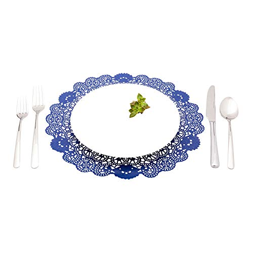 Disposable Paper Lace Doilies - Navy Blue - Round - Use with Cakes, Desserts, Baked Goods, Weddings, Decoration - 12' x 12' - 100ct Box - Pastry Tek - Restaurantware