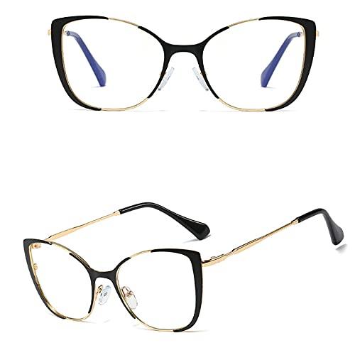 MTSBW Gafas de Bloqueo de luz Azul/Hombres, Metal Anti-Azul Gafas de luz Moda Gafas Planas Mujeres de Moda Marco de vidrios, Anti Eyestrein Computer Glass Gafas,B
