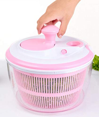 Large Salad and Vegetable Spinner - 5 L - Innovative Design - Salad Bowl - Strainer - Pink