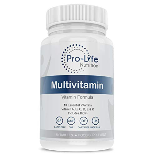 Multivitamin Tablets for Women & Men - 180 Tablets 6 Month Supply - 13 Essential Multi Vitamins for Men & Women Including Vitamin B Complex & Vitamin D3 K2 - Multivitamins by Pro-life Nutrition