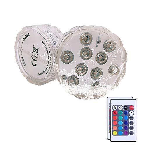 SLKIJDHFB Unterwasser Licht, 2 Stück 10 LED Unterwasser Licht mit Fernbedienung Multi Farbwechsel Wasserdichte Deko Licht für Schwimmbad, Teich, Aquarium, Garten, Badewanne