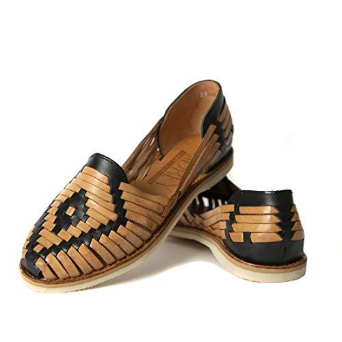 SIDREY Women's Catrina Huarache Sandals Closed Toe - Black/Tan (US 9.5, Black/Tan)