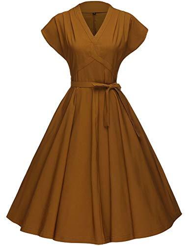 GownTown Women's 1953's Vintage Rockabilly Swing Stretchy Dress Dark Yellow