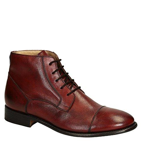 Leonardo Shoes Polacchini Eleganti Uomo in Pelle di Vitello bordò e Puntale - Codice Modello: Pina 3022 Cavallo MARANJA - Taglia: 44 EU