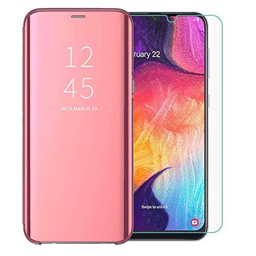 TANKLE Kompatibel Mit Samsung Galaxy A50 Hülle Smart Cover Spiegeln Handytasche Flipcase Ultra Thin passt für Samsung Galaxy A50 (pink, A50)
