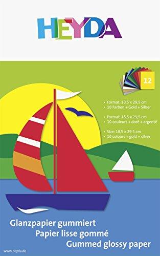 Heyda 204875306 Glanzpapier Bastelmappe (Buntpapier, 18,5 x 29,5 cm, 80 g/m², 12 Blatt, 10 Farben, gold, silber)