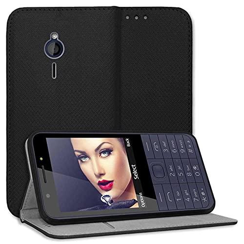 mtb more energy® Schutz-Tasche Bookstyle für Nokia 230 (2.8'') - schwarz - Kunstleder - Klapp-Cover Hülle Wallet Hülle