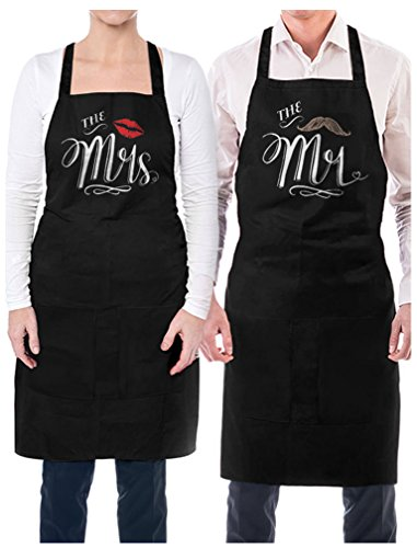 TeeStars Mr. and Mrs. Aprons with Mustache and Red Lips Gift for Couples Wedding, Anniversary, Newlywed His & Hers Cooking Chef Apron One Size Black