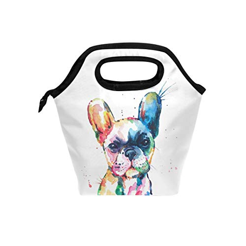 Watercolor French Bulldog Lunch Bag Tote Lunchbox Handbag, Boys Girls Women Insulated Food Container Gourmet Cooler Warm Pouch For School Work Office Student Kids