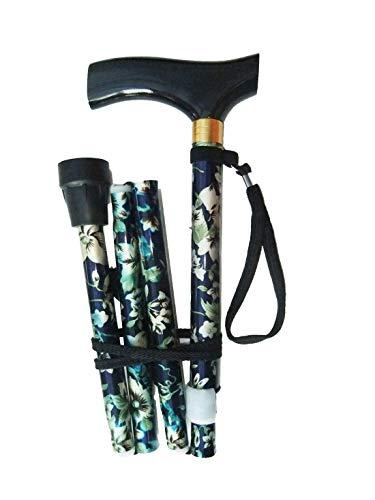 Bastón plegable con altura ajustable, correa de muñeca y virola adicional de regalo, diseño de flores, morado, pale blue/white