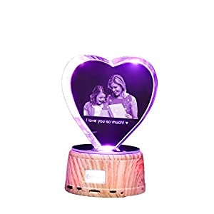 Personalized Bluetooth Music Lamp Laser Etching Picture 7 Color 3D Crystal Light Custom Photo Light Thanksgiving for Women