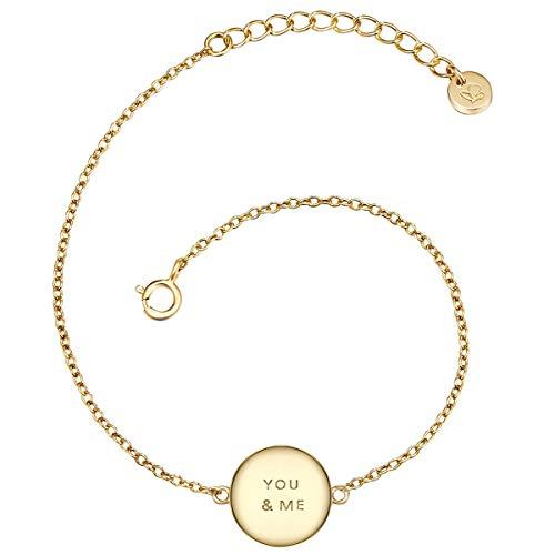 Glanzstücke München Damen-Armband mit Anhänger You & Me Sterling Silber gelbvergoldet 17 + 3 cm - Armkettchen gelb-gold Silberarmkette mit Spruch Freundschaftsarmbänder Arm-Schmuck